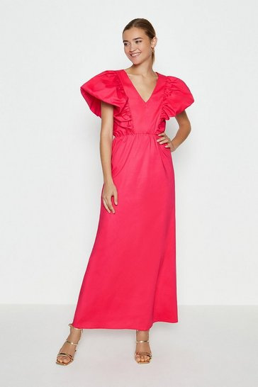 Hot pink Deep V-Poplin Maxi Dress
