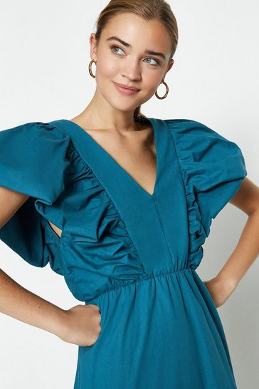 Teal Deep V-Poplin Maxi Dress