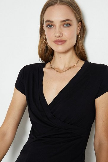Black Short Sleeve V-Neck Jersey Wrap Top