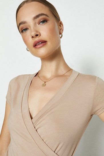 Tan Short Sleeve V-Neck Jersey Wrap Top