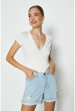 White Short Sleeve V-Neck Jersey Wrap Top