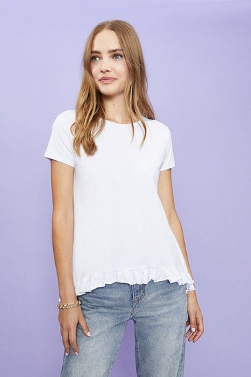 White Short Sleeve Ruffle Hem T-Shirt