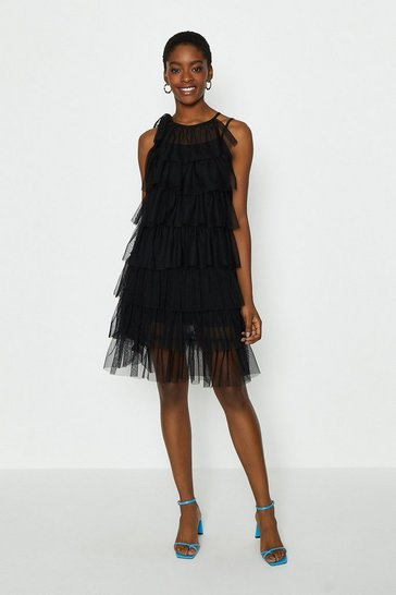Black Tiered Tulle Tie Neck Short Dress