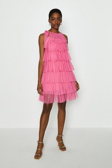 Pink Tiered Tulle Tie Neck Short Dress