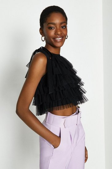 Black Tiered Tulle Tie Neck Top
