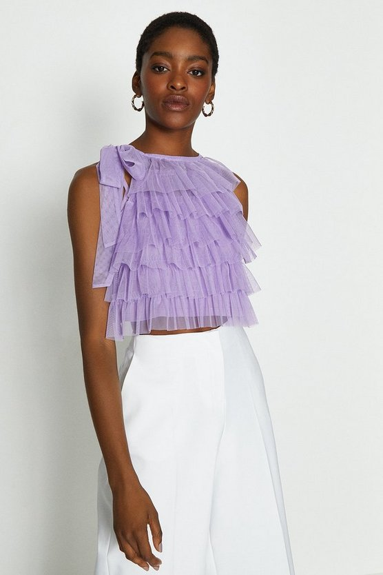 Lilac Tiered Tulle Tie Neck Top