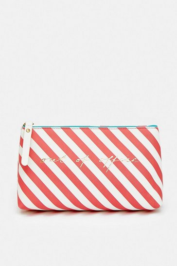 Red Stripe Out Of Office Make Up Bag