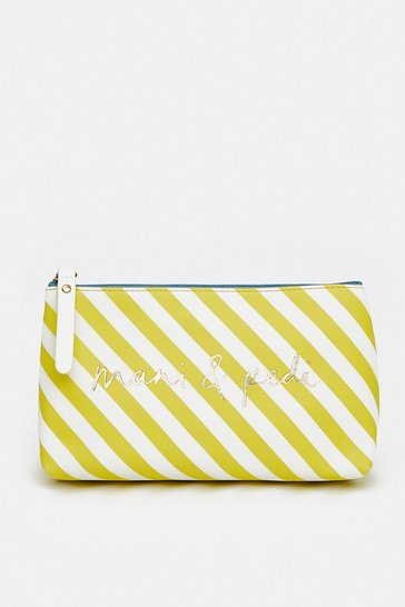 Yellow Stripe Mani & Pedi Make Up Bag