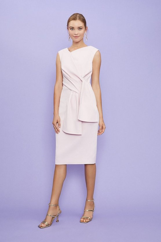 Pink Sleeveless Bow Front Shift Dress