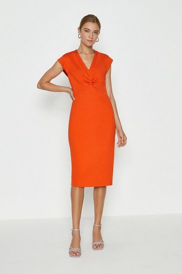 Orange Sleeveless Drape Bow Shift Dress