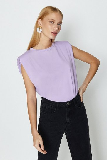 Lilac Sleeveless Padded Shoulder T-Shirt