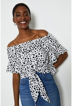 White Spotty Bardot Tie Front Top