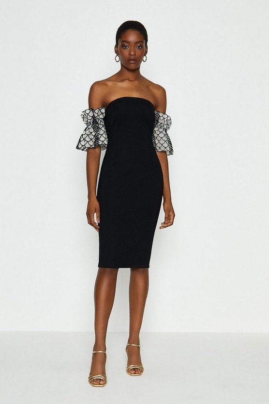 Black Bardot Texture Sleeve Dress