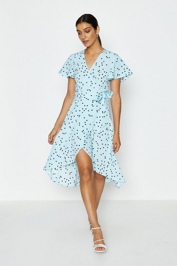 Ice blue Spotty Tie Front Detail Wrap Dress