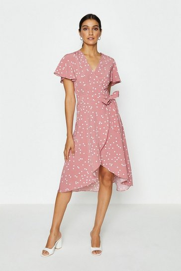 Mauve Spotty Tie Front Detail Wrap Dress