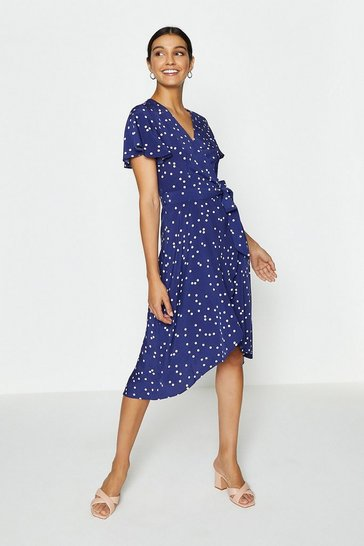 Navy Spotty Tie Front Detail Wrap Dress