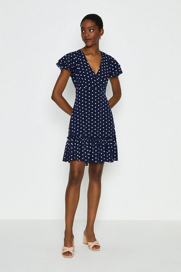 Navy Spotty Wrap Dress