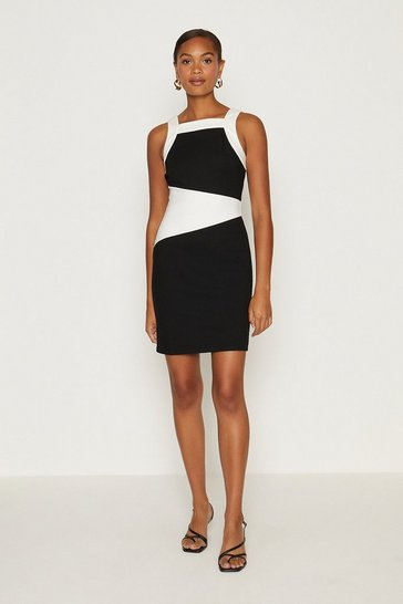 Mono Ponte Panelled Shift Dress