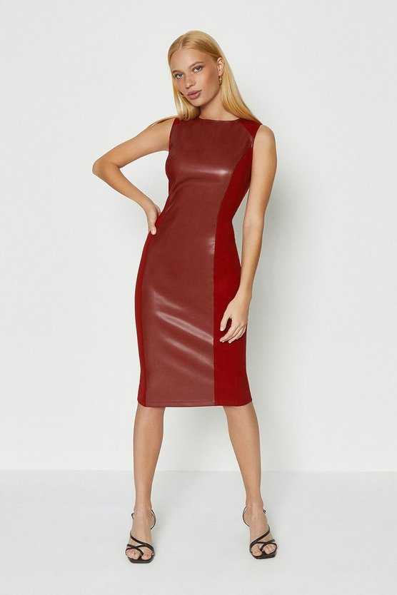 Berry PU Panelled Shift Dress