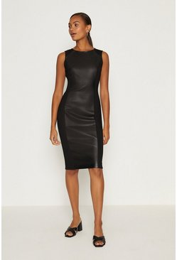 Black PU Panelled Shift Dress