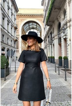 Black Pu Cap Sleeve Shift Dress