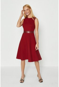Berry Pu Panelled Ponte Fit And Flare Dress
