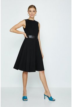 Black Pu Panelled Ponte Fit And Flare Dress