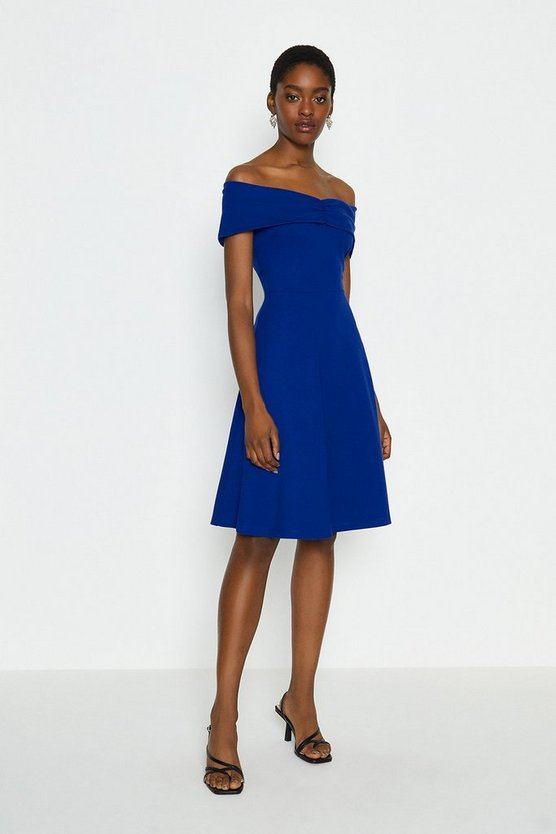Cobalt Bardot Skater Dress