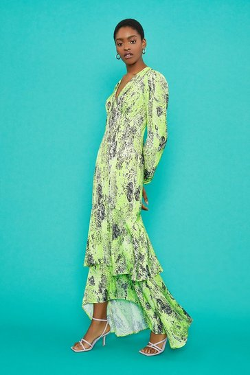 Green V-Neck Tiered Hem Maxi Dress