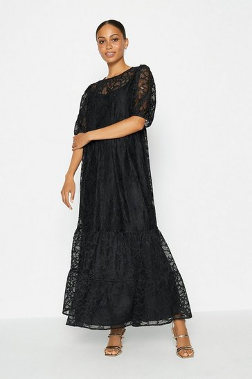 Black Short Sleeve Lace Tiered Dress