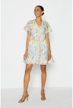 Multi Meadow Bloom Tiered Midi Dress