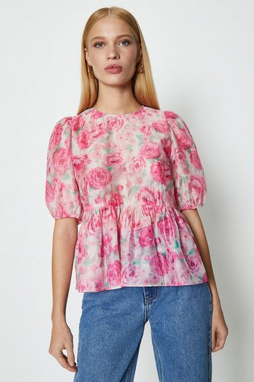 Pink Rose Print Puff Sleeve Organza Top