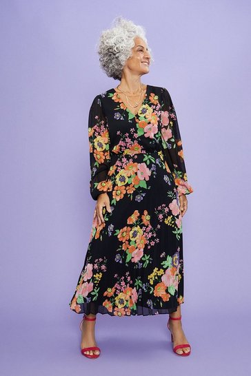 Black Pansy Bloom Pleated Midi Dress