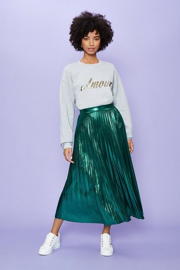 Green Metallic Pleated Midi Skirt