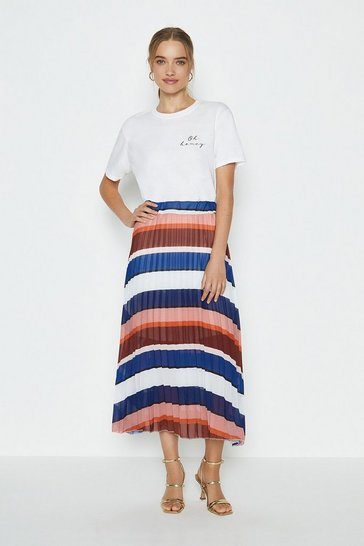 Navy Pleated Printed Maxi Skirt