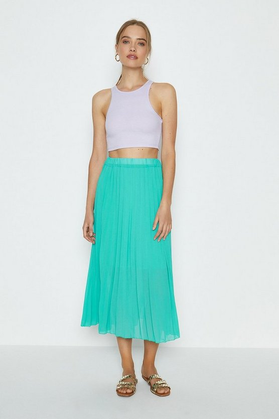 Aqua Pleated Maxi Skirt