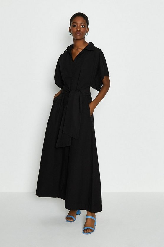 Black Wide Sleeve Belted Shirt Dress