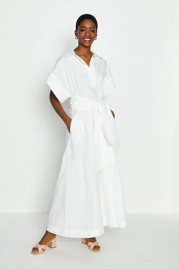 White Wide Sleeve Belted Shirt Dress