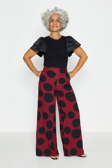 Berry Wide Leg Spot Print Trousers