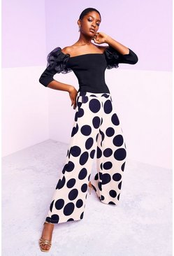 Mono Wide Leg Spot Print Trousers