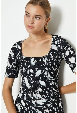 Mono Square Neck Printed Top