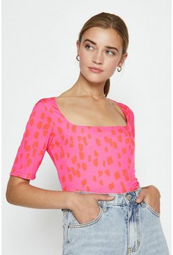 Pink Square Neck Printed Top