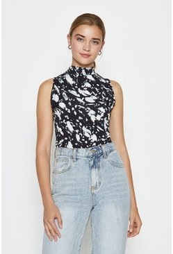 Mono High Neck Sleeveless Printed Top