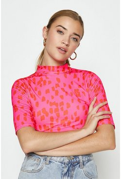 Pink High Neck Short Sleeved Printed Top