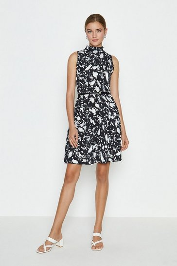 Mono High Neck Printed Belted Skater Dress