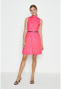 Pink High Neck Printed Belted Skater Dress