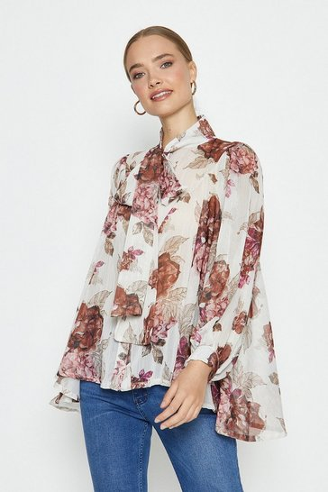 Ivory Pussy Bow Smock Floral Blouse