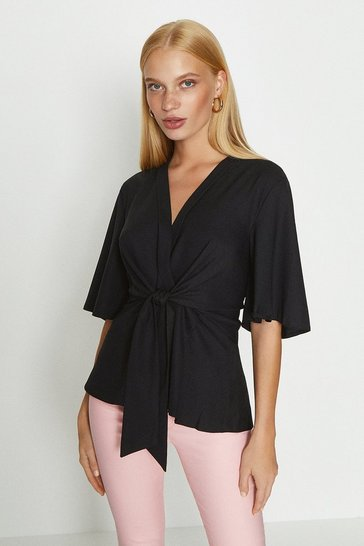 Black Short Sleeve Plain Wrap Top