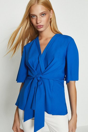 Cobalt Short Sleeve Plain Wrap Top