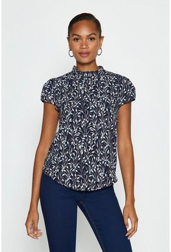Navy Printed High Neck Cap Sleeve Shell Top